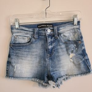 Express Jeans Distressed Shortie Shorts